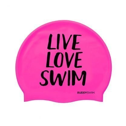Gorro natación rosa Buddyswim Live Love Swim