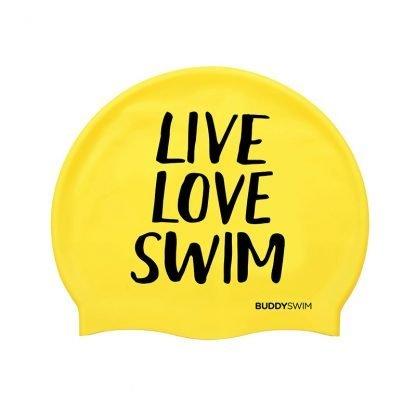 Gorro natación Buddyswim Live Love Swim amarillo